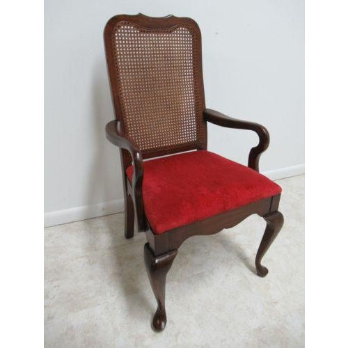 Brown Vintage Thomasville Solid Cherry Queen Anne Caned Chair For Sale - Image 8 of 11