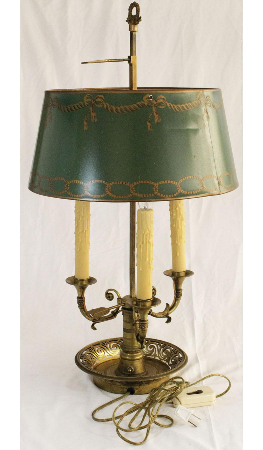 Brass Bouillotte Lamp With Painted Tole Shade   Image 7 Of 7