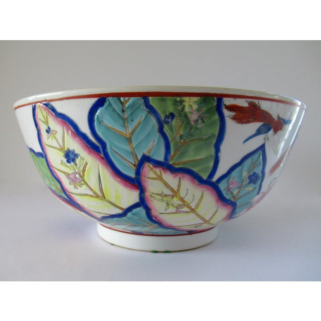 Early 20th Century Vintage Tobacco Leaf Large Hand Painted Porcelain Bowl For Sale - Image 5 of 12