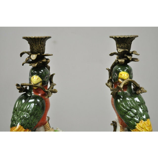 Figurative French Green & Yellow Parrot Candlestick Candle Holders-a Pair For Sale - Image 3 of 11