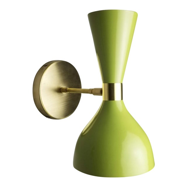 "Blueprint Lighting Bronze + Green Enamel ""Ludo"" Wall Sconce For Sale"