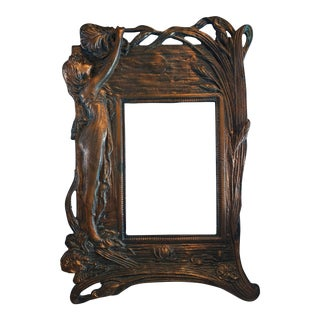 Art Nouveau Copper Plated Desk Top Picture Frame For Sale