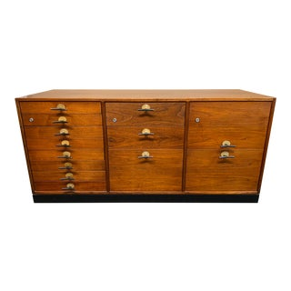 Mid 20th Century Jens Risom Walnut Credenza + Y Handles For Sale