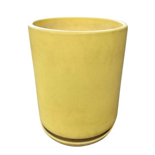 Rare Gainey Ceramics Yellow Planter W/Matching Drainaige Dish For Sale