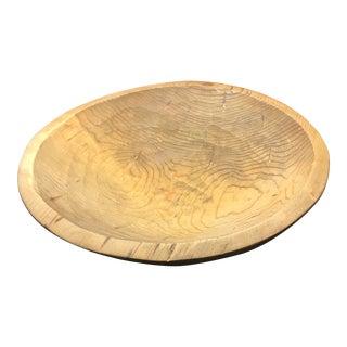 Large Carved Vintage Wood Bread Bowl For Sale