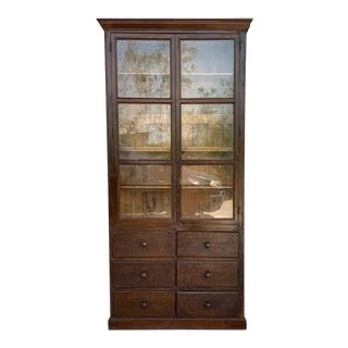 French Large Walnut Cupboard or Bookcase With Glass Vitrine, 19th Century For Sale
