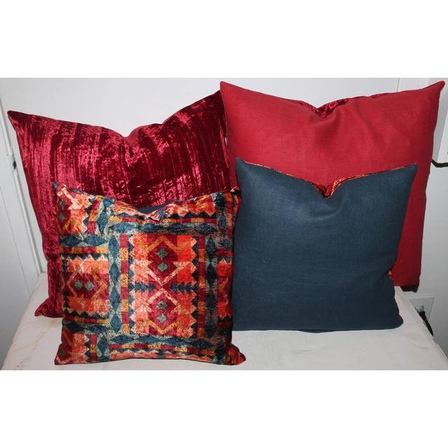 Contemporary Amazing Red Silk Velvet and Multicolored Pattern Velvet Pillows For Sale - Image 3 of 4