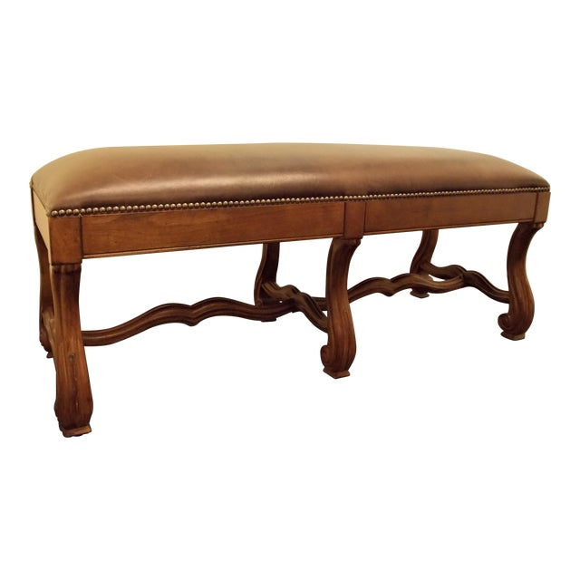 Wood and Leather Bench - Image 1 of 8