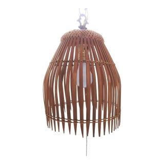 Boho Chic Bamboo Rattan Wood Plug in Hanging Swag Lamp For Sale