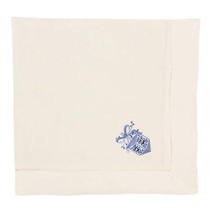 Embroidered Chinoiserie Dreidel Dinner Napkins - Set of 4 For Sale