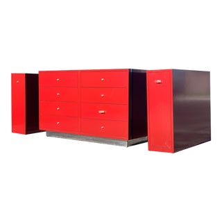 1980s Custom Red & Chrome Dresser & Bedside Tables - Set of 3 For Sale
