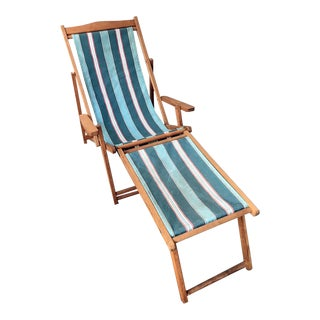 Teak Sling Chair With Foot Rest For Sale