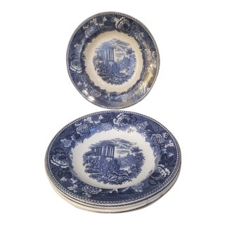 "English Wedgewood Pottery Blue and White Antique "" Landscape"" Bowls - Set of 5 For Sale"
