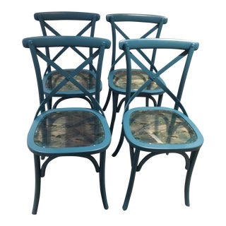 Blue Classic Chairs - Set of 4 For Sale