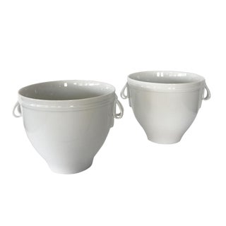 20th Century Hollywood Regency Kpm Berlin White Porcelain Vase Mozart Cups - a Pair For Sale