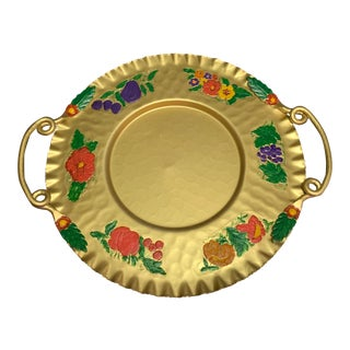 Vintage Cromwell Handcrafted Hammered Aluminum Gold Platter With Painted Flowers For Sale
