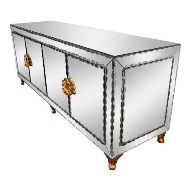 Mirrored Buffet with Pie Crust Beveled Edges and Gold Leaf Hardware For Sale