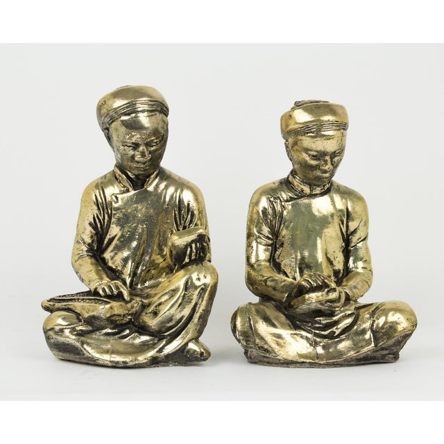 Gold Praying Monks Ceramic Statues - a Pair For Sale - Image 10 of 10