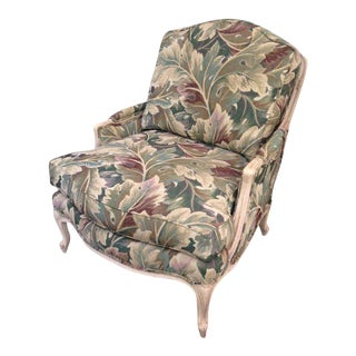 1980s Louis XV Bergère Tropical Botanical Print Palm Club Chair For Sale