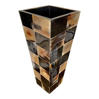 Large Natural Horn Covered Square Vase For Sale