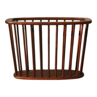 1960s Arthur Umanoff Walnut Magazine Rack For Sale