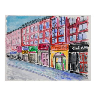 Abstract Village Street New York City Landscape by Cleo For Sale