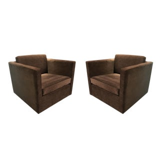 Pair of Charles Pfister for Knoll Petite Club Chairs in Brown Velour For Sale