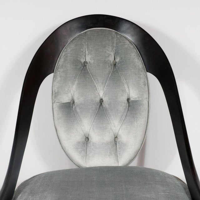 Textile Pair of Mid-Century Modern Spoon Back Occasional Chairs in Ebonized Walnut For Sale - Image 7 of 8