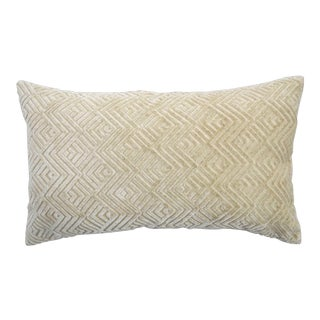 Modern FirmaMenta Italian Geometric Cream Linen Velvet Lumbar Pillow For Sale