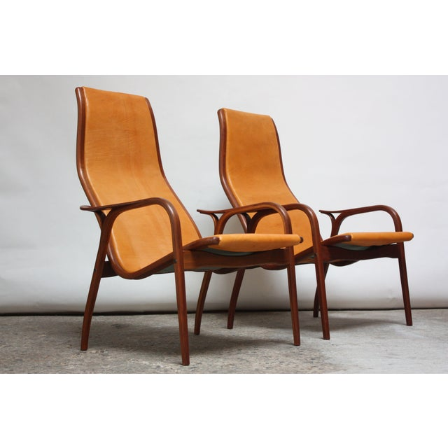 Mid-Century Modern Pair of Swedish Teak and Leather 'Lamino' Chairs by Yngve Ekström For Sale - Image 3 of 13