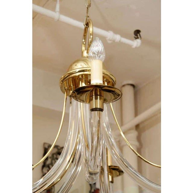 Mid-Century Modern Modernist Lucite and Brass Chandelier For Sale - Image 3 of 3