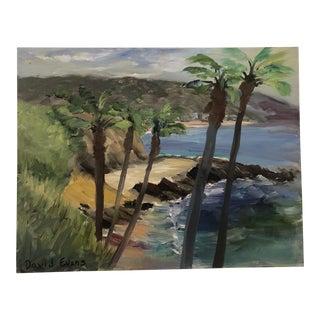 """David Evans """"Though the Palm Trees, Laguna Beach"""" Plein Air Painting For Sale"""