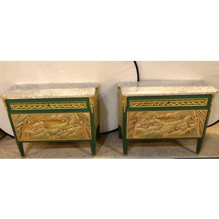Paint Decorated Hollywood Regency Marble-Top Commodes Manner of M. Jansen, Pair Preview