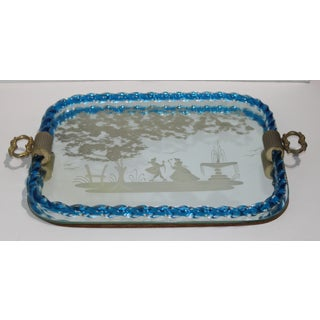 Murano Etched Glass Rectangular Vanity Table Tray With Blue Twist Detail by Barovier Et Toso Preview