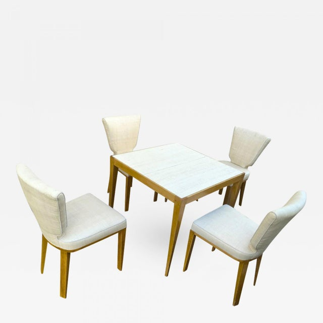 JEAN ROYERE documented playing card set made of 4 'ecusson' chair and 1 table.