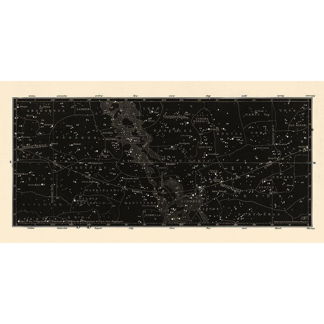 Boho Chic Antique Black Star Map Large Constellation Print For Sale - Image 3 of 5