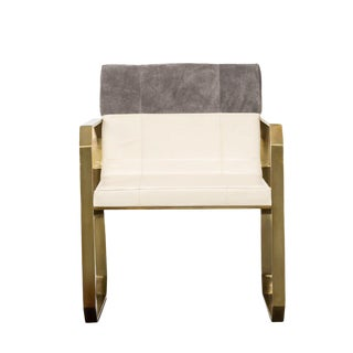 Contemporary Cream and Gray Leather Dining Chair