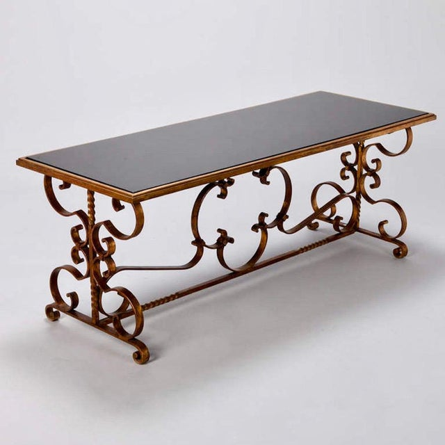 Art Deco Italian Gilt Iron & Black Glass Cocktail or Coffee Table For Sale - Image 3 of 8