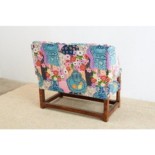 Antique English Winged Settee With Floral Upholstery For Sale - Image 12 of 13