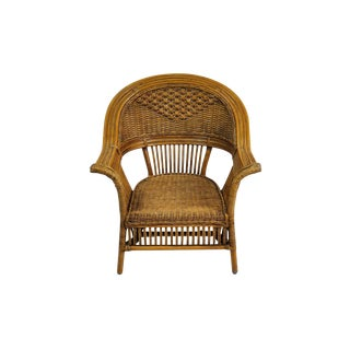 Vintage French Wicker Lounge Armchair For Sale