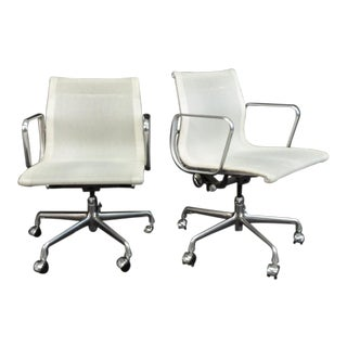 Vintage Mid Century Eames Aluminum Group Management Arm Chairs - A Pair For Sale
