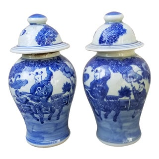 Pair Hand Painted Chinese Urns For Sale