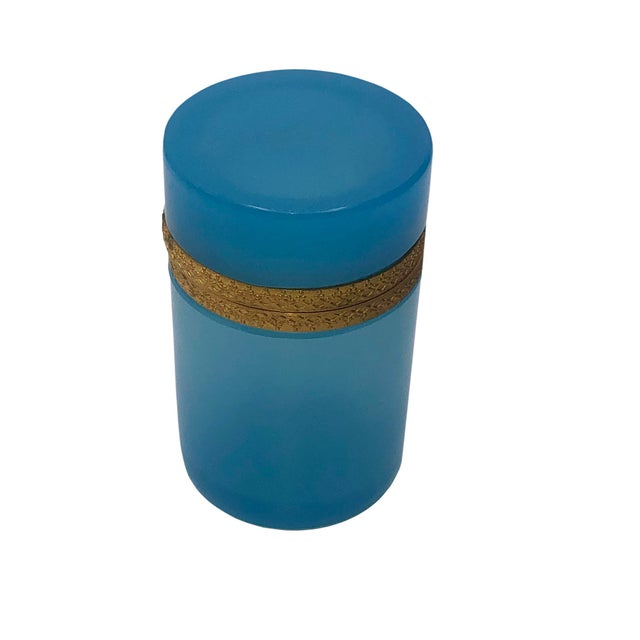 French Tall French Blue Opaline Glass Box For Sale - Image 3 of 7