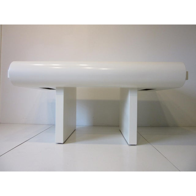 Modern 70's Cream Lacquer Sculptural Desk For Sale - Image 3 of 12
