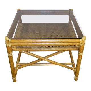 1990s Hollywood Regency McGuire Rattan & Leather Square End Table With Glass Top For Sale