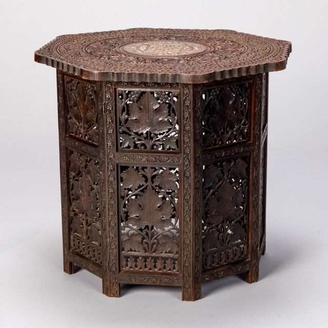 Octagonal Delicately Carved Dark Wood Moorish Table - Image 3 of 9
