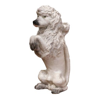 19th Century French Saint Clement Painted Ceramic Barbotine Poodle Pitcher For Sale