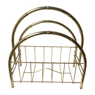 Hollywood Regency Brass Arch Magazine Rack For Sale