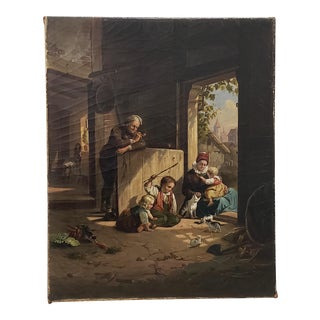 "19th Century ""Playing With Kittens"" Original Oil Painting For Sale"