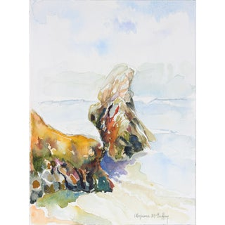 20th Century Northern California Seascape in Watercolor For Sale